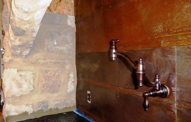 Rusty Tin Backsplash - by Historic Flooring