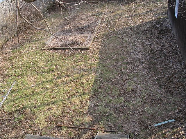 The before picture. Since the back yard was too small to play football in, we figured we might as well fill it in, and toss the lawn mower. One half is for flowers, deck, and utility, and the other is for food growing.