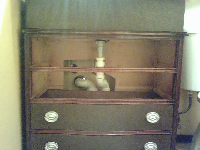 Vanity with plumbing rearranged