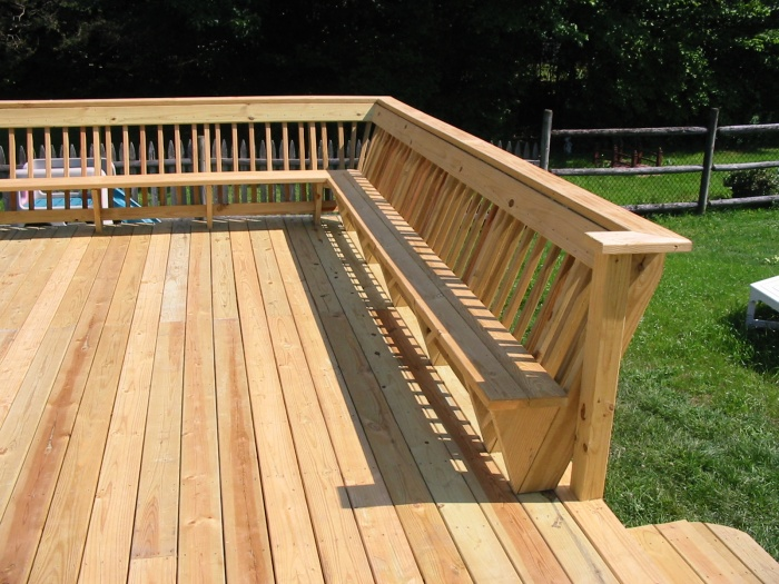 We often get requests to build deck benches into the railing designs.