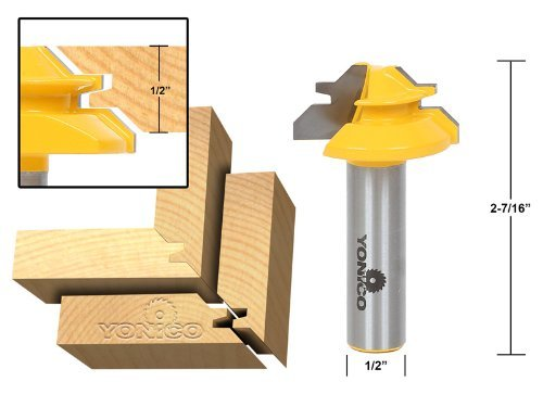 Yonico 15129 Small Lock Miter Router Bit with 45 Degree 1 2 Inch Stock 1 2 Inch Shank by Yonico 22